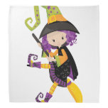 Cute Lil Witch With Purple Hair on A Broomstick Bandana