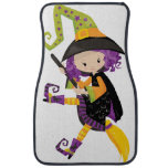Cute Lil Witch With Purple Hair on A Broomstick Car Floor Mat