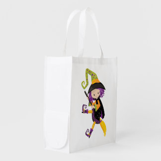 Cute Lil Witch With Purple Hair on A Broomstick Grocery Bag