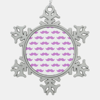 Cute Lilac and White Mustache Pattern 1 Snowflake Pewter Christmas Ornament