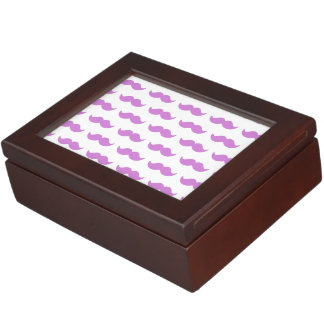 Cute Lilac and White Mustache Pattern 1 Memory Boxes