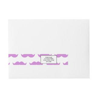 Cute Lilac and White Mustache Pattern 1 Wraparound Address Label