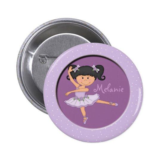 Cute lilac Ballerina 1 Custom Name Pinback Button