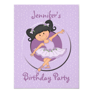 Cute Lilac Ballerina Birthday Party 4.25x5.5 Paper Invitation Card