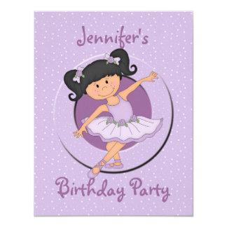 Cute Lilac Ballerina Birthday Party Invitations