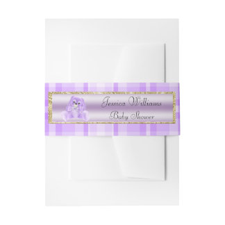 Cute Lilac Bunny Invitation Belly Band