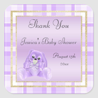 Cute Lilac Bunny Thank You Baby Shower Square Sticker