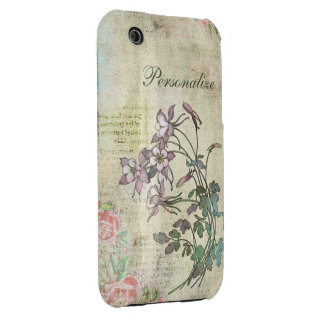 Cute Lilac Flowers on Vintage Background iPhone 3 Case