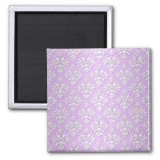 Cute Lilac Lavender and White Damask 2 Inch Square Magnet