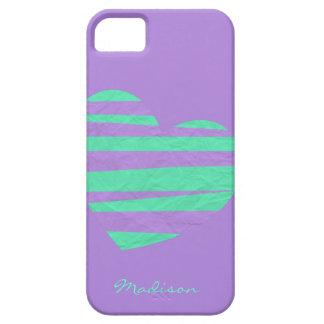Cute Lilac & Mint w Striped Paper Heart, add name iPhone SE/5/5s Case