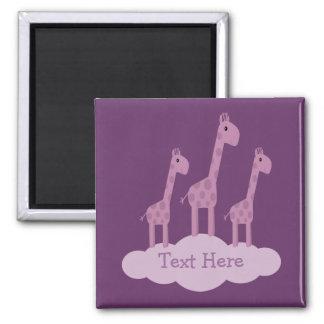 Cute lilac purple Giraffes magnet