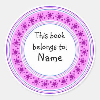 Cute lilac star bookplate design
