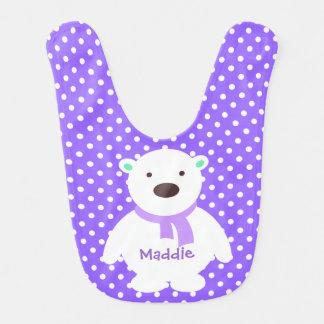 Cute Lilac/White Polka Dots, Polar Bear, Add name Bibs