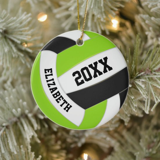 cute lime black white girly volleyball ceramic ornament