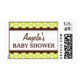 Cute lime green brown polka dots baby shower stamp
