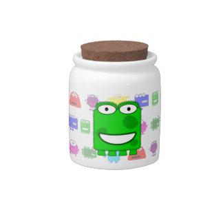 Cute Lime Green Cartoon Monster Candy Jar
