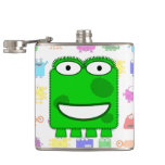Cute Lime Green Cartoon Monster Flask