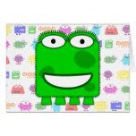 Cute Lime Green Cartoon Monster Greeting Card