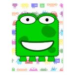 Cute Lime Green Cartoon Monster Postcard
