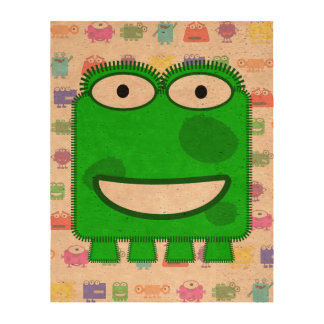 Cute Lime Green Cartoon Monster Queork Photo Prints