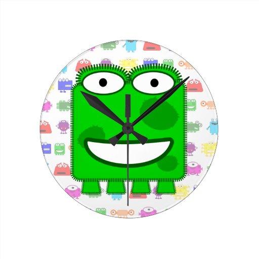 Cute Lime Green Cartoon Monster Round Wall Clocks