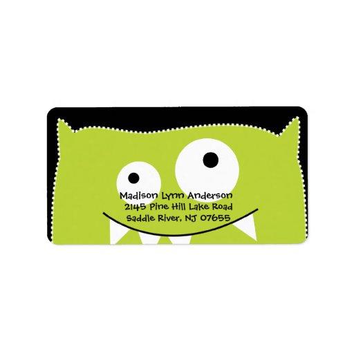 CUTE Lime Green Monster Return Address Label