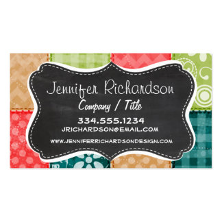 Cute Lime Green Turquoise and Scarlet Red Business Card Template