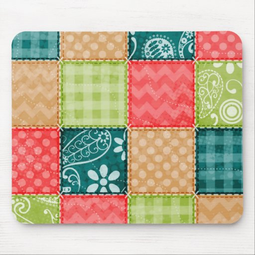 Cute Lime Green, Turquoise, and Scarlet Red Mouse Pad