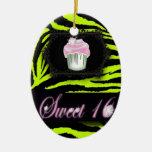 cute Lime Green Zebra print pink Cupcake Ceramic Ornament