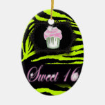 cute Lime Green Zebra print pink Cupcake Double-Sided Oval Ceramic Christmas Ornament
