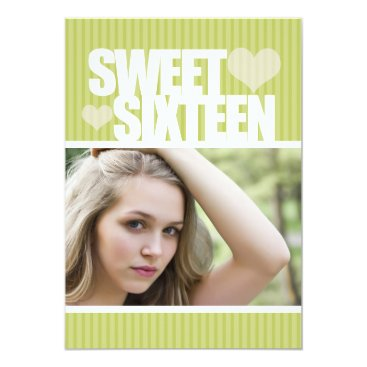 Valentines Themed CUTE LIME HEART SWEET SIXTEEN INVITATION