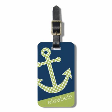 Cute Lime Polka Dot Anchor with Navy Custom Name Bag Tag