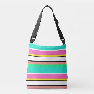 Cute Line Green Pink Horizontal Cross Body Bag