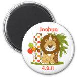 Cute Lion 1st Birthday 2 Inch Round Magnet