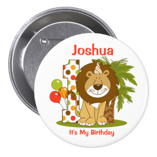 Cute Lion 1st Birthday Button