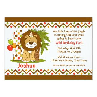 Cute Lion 1st Birthday 5x7 Paper Invitation Card