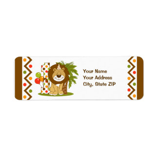 Cute Lion 1st Birthday Label