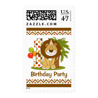 Cute Lion 1st Birthday Postage