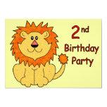Cute Lion 2nd Birthday 5x7 Paper Invitation Card