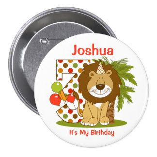 Cute Lion 3rd Birthday Pins
