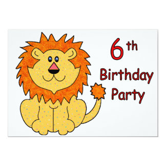 Cute Lion 6th Birthday Card