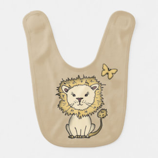 Cute Lion and Butterfly Brown Baby Bib