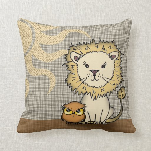 Cute Lion And Owl Throw Pillow For Boy Or Girl Zazzle