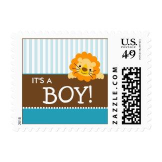 Cute Lion Baby Announcement Stamp (aqua)