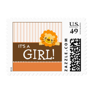 Cute Lion Baby Announcement Stamp (orange)