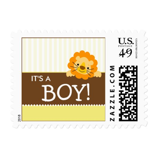 Cute Lion Baby Announcement Stamp (yellow)