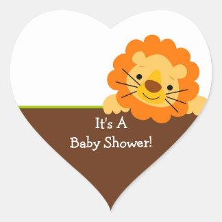Cute Lion Baby Shower Square Sticker! Heart Sticker
