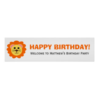 Cute Lion Birthday Party Banner Poster
