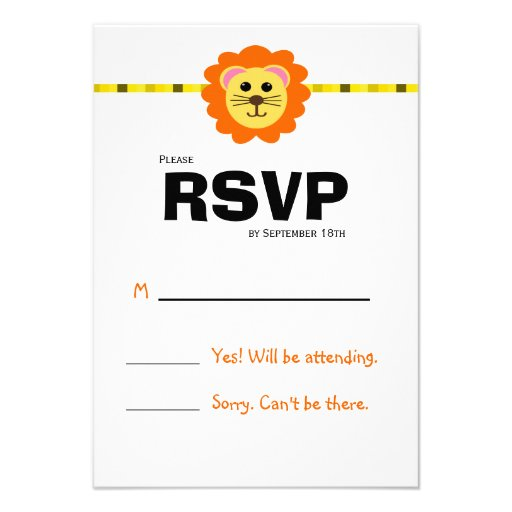 Cute Lion Birthday Party RSVP Card Personalized Announcement