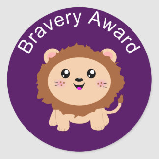 Cute Lion Bravery Award - Sticker for being brave